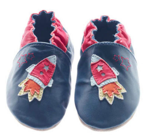 Jack & Lily Originals soft sole leather shoes Rocket Navy 2 - 3 years