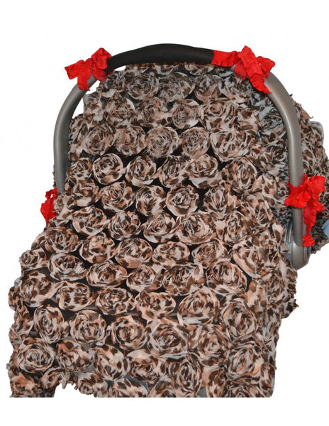 Tivoli Couture multiuse carseat & stroller cover 3D Roses in Leopard Rose