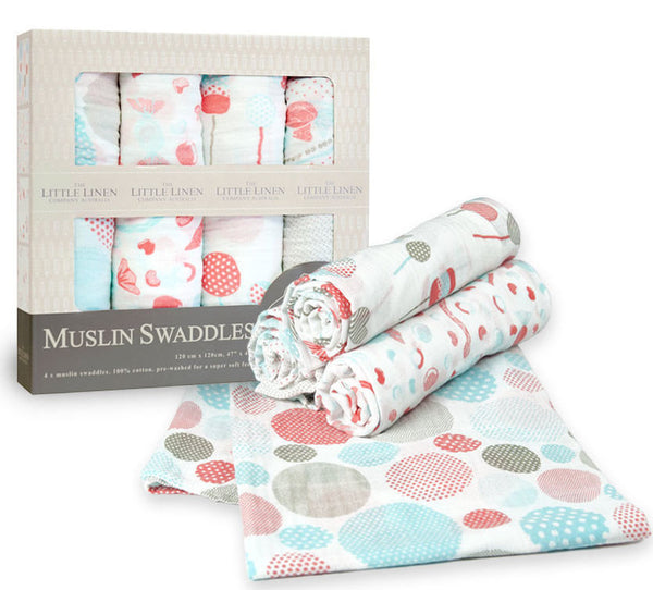 The Little Linen Company 4 Pack Candy Boxed Muslin Swaddling Wraps