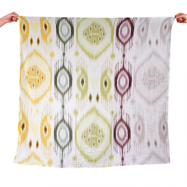 OiOi Ikat Natural Printed Muslin Swaddle
