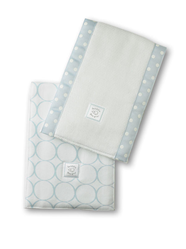 SwaddleDesigns Baby Burpies Pastel Blue Mod Circles on White