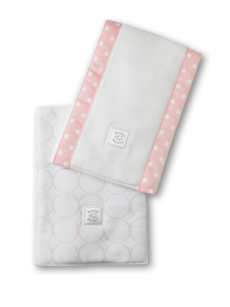 SwaddleDesigns Baby Burpies Pastel Pink Mod Circles on White