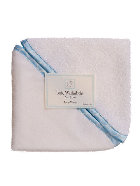 SwaddleDesigns Baby Washcloths Mini Mod Circle Trim Pastel Blue