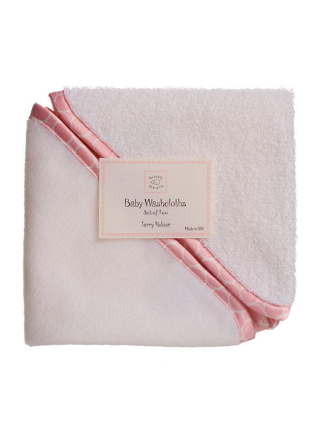 SwaddleDesigns Baby Washcloths Mini Mod Circle Trim Pastel Pink