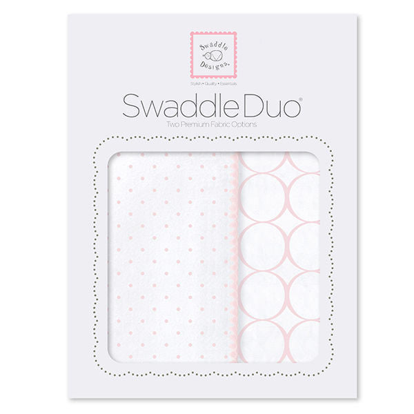SwaddleDesigns Swaddle Duo Mod Circles Pastel Pink