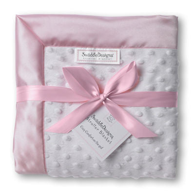 SwaddleDesigns Stroller Blanket Plush Dot with Pastel Pink Baby Velvet