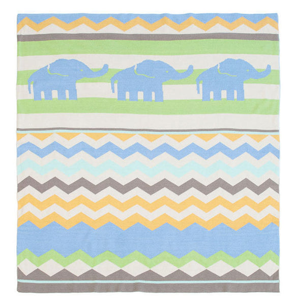 Weegoamigo Elephant Walk Knitted Blanket