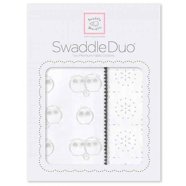 SwaddleDesigns Swaddle Duo Sterling Owls and Sparklers