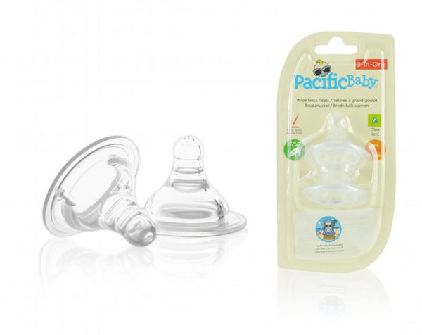 Pacific Baby Wide Neck Silicone Teats. Medium Flow, 2 pc's