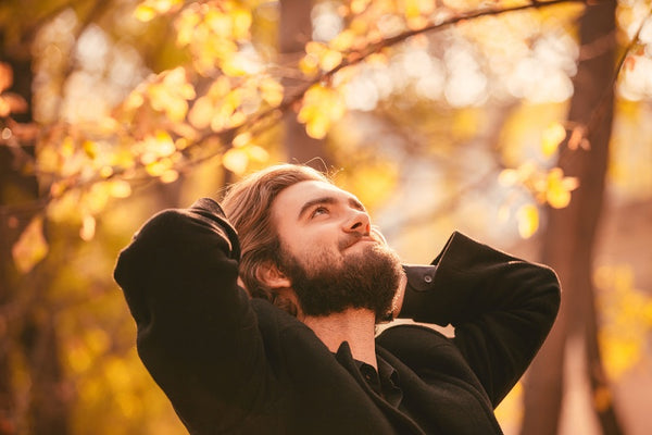 Portrait of young handsome bearded guy in the autumn city park. Autumn style
