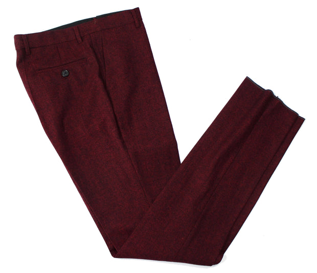 Maroon Barleycorn Tweed Trousers