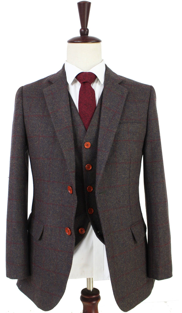 Dark Brown Red Windowpane Tweed 3 Piece