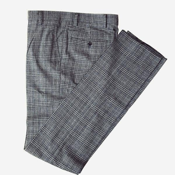 Retro Grey Blue Plaid Tweed Trousers