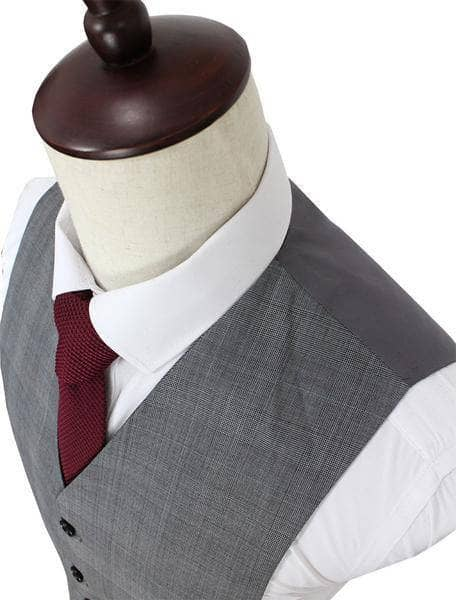 Grey Prince of Wales Check Worsted Wool Waistcoat