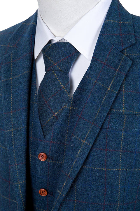 Blue Overcheck Twill Tweed  3 Piece Suit