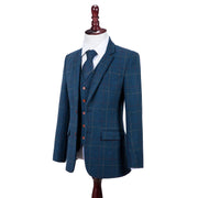 Blue Overcheck Twill Tweed Jacket