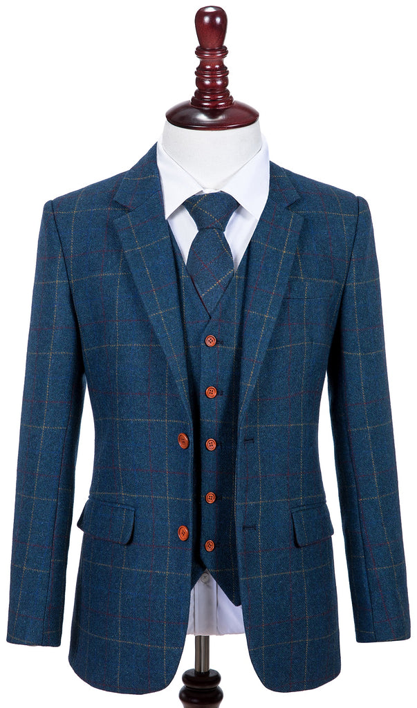 Blue Overcheck Twill Tweed 3 Piece