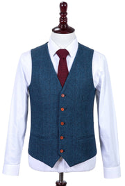 Blue Estate Herringbone Tweed Waistcoat