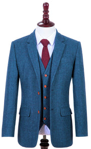 Blue Estate Herringbone Tweed  3 Piece Suit