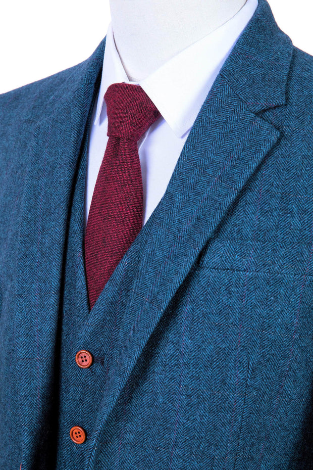 Blue Estate Herringbone Tweed 3 Piece