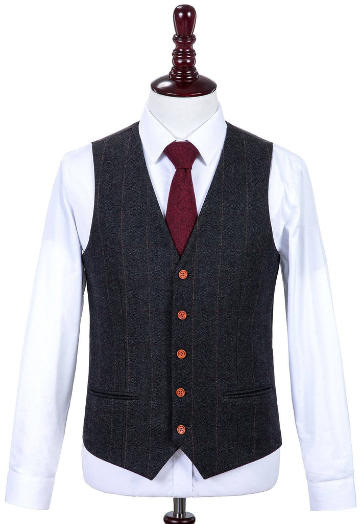 Dark Grey Estate Herringbone Tweed Waistcoat