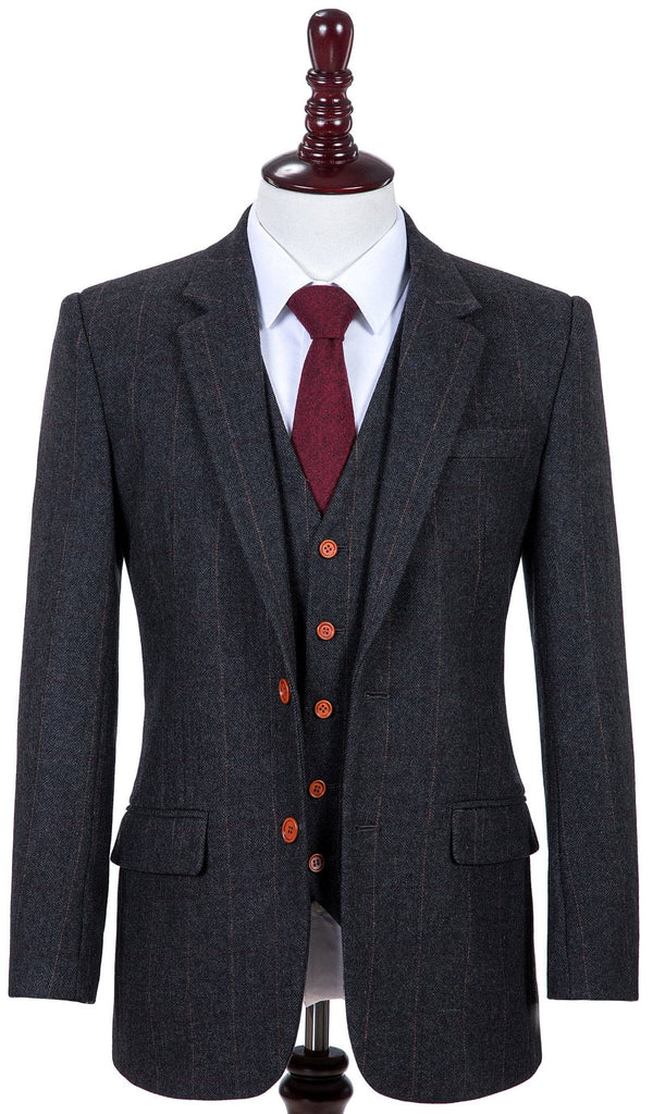 search for clearance store best selling Dark Grey Herringbone Tweed Three Piece Suit – Empire Outlet