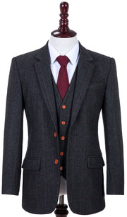 Dark Grey Estate Herringbone Tweed 3 Piece