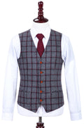 Grey Red Windowpane Tweed Waistcoat