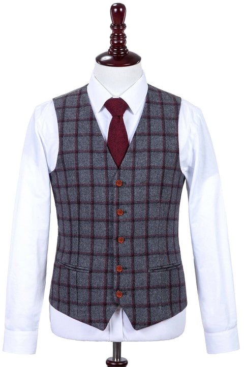 Grey Red Windowpane Tweed