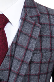 Grey Red Windowpane Tweed Jacket