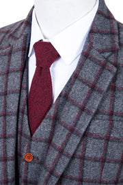 Grey Red Windowpane Tweed  3 Piece Suit