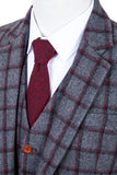 Grey Red Windowpane Tweed 3 Piece