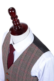 Brown Red Houndstooth Plaid Tweed