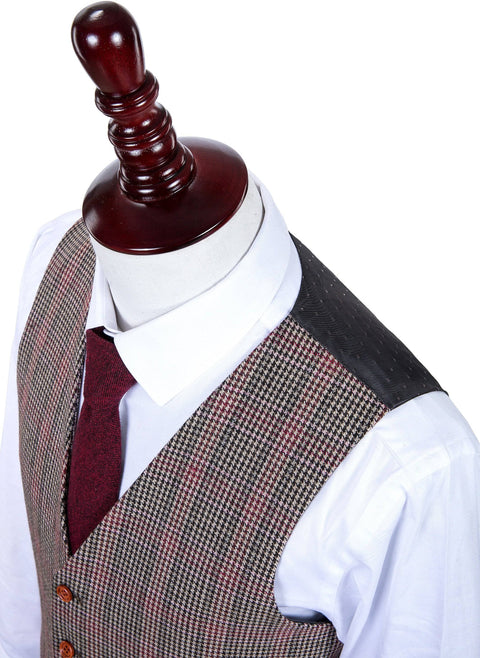 Brown Red Houndstooth Plaid Tweed Waistcoat