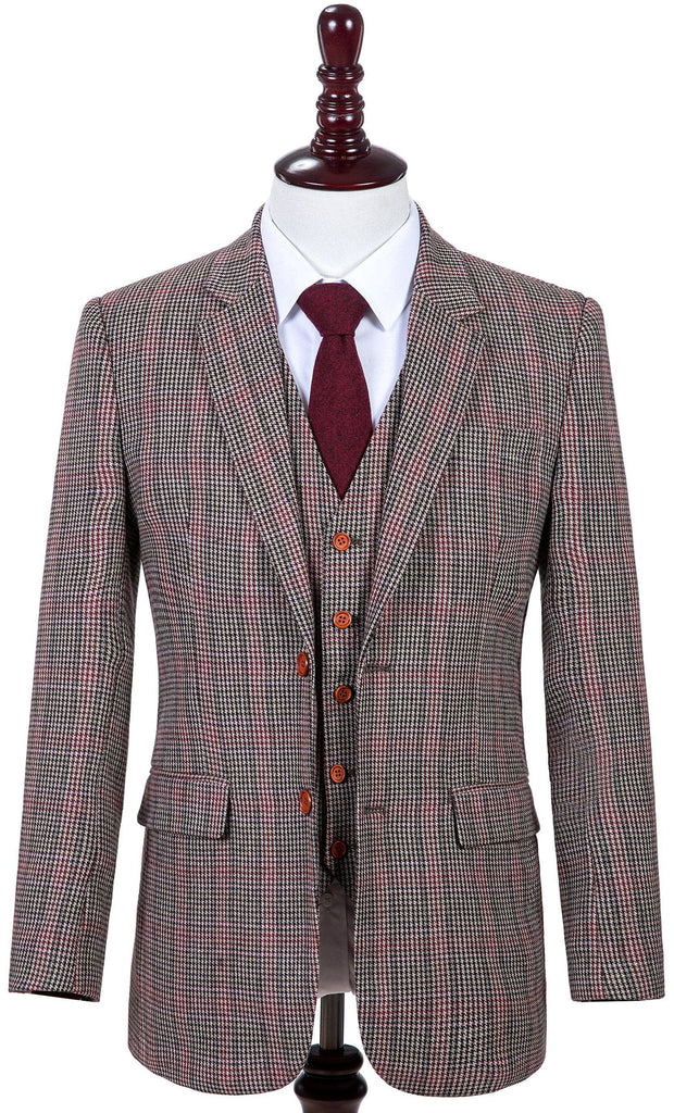 Brown Red Houndstooth Plaid Tweed 3 Piece