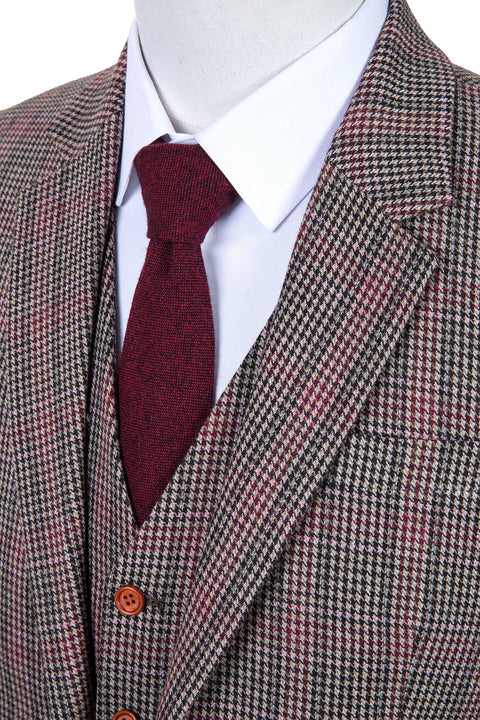 Brown Red Houndstooth Plaid Tweed Jacket