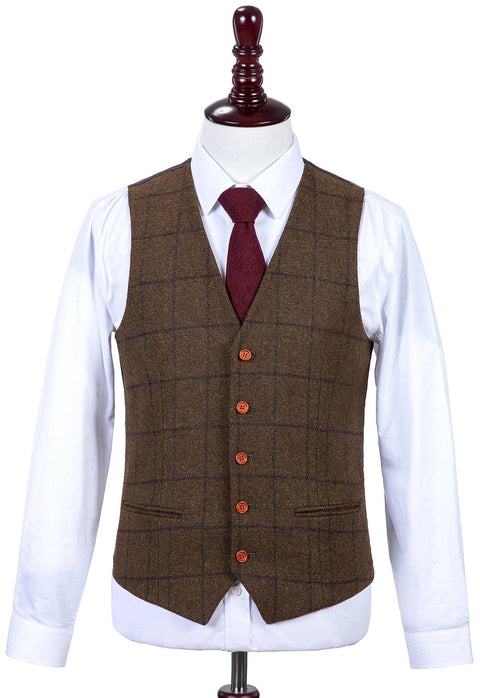 Country Brown Windowpane Tweed Waistcoat