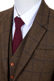 Country Brown Windowpane Tweed Jacket