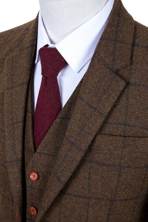 Country Brown Windowpane Tweed  3 Piece Suit