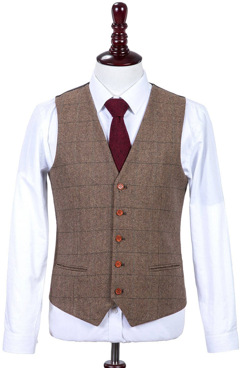 Traditional Brown Estate Herringbone Tweed Waistcoat