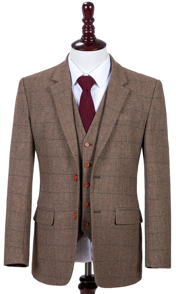Traditional Brown Estate Herringbone Tweed 3 Piece