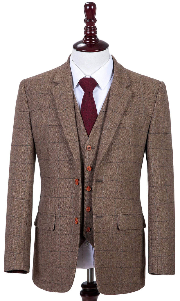 Traditional Brown Estate Herringbone Tweed Jacket