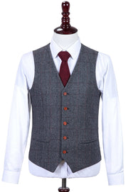 Traditional Grey Estate Herringbone Tweed  3 Piece Suit