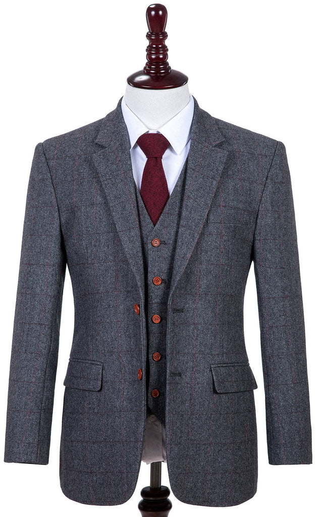 Traditional Grey Herringbone Mens Tweed Suit Empire Outlet