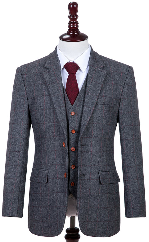 Traditional Grey Estate Herringbone Tweed Jacket