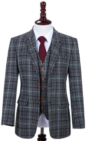 Grey Sky Blue Houndstooth Tweed Jacket