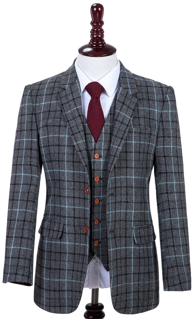 Grey Sky Blue Houndstooth Tweed 3 Piece