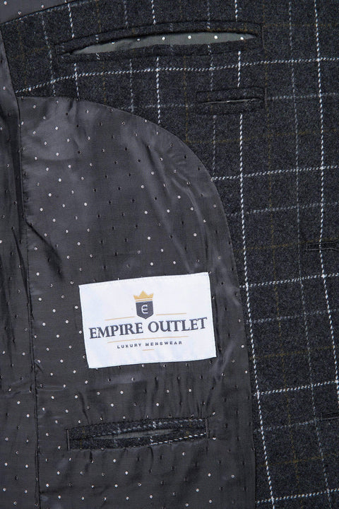 Grey Overcheck Twill Tweed Jacket