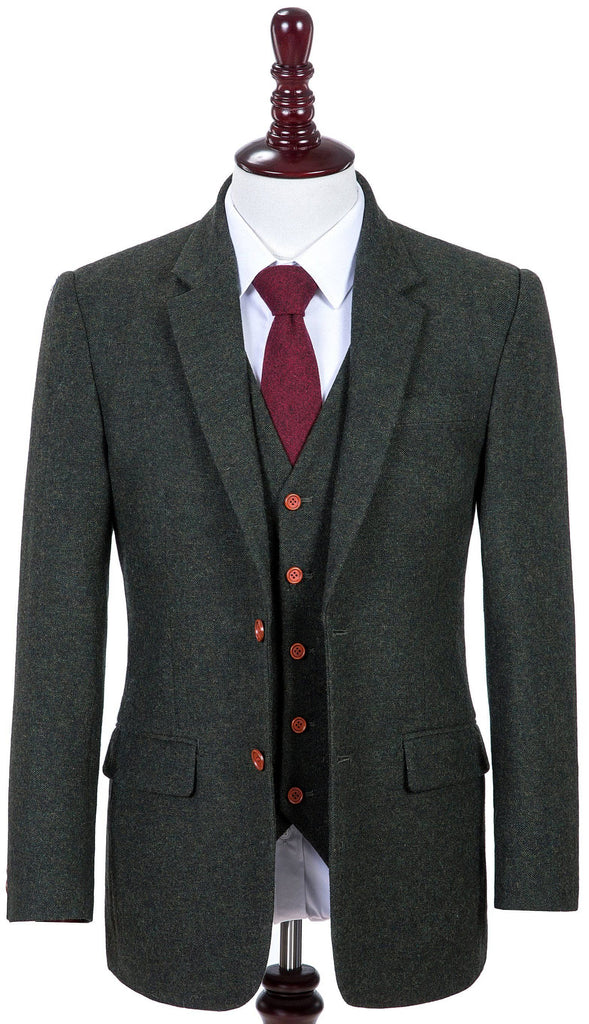 Exmoor Green Barleycorn Tweed 3 Piece
