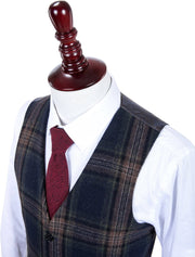 Midnight Blue Plaid Tweed Waistcoat